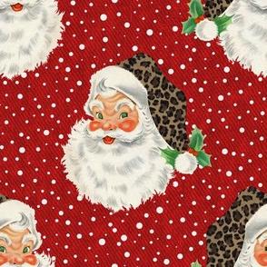 Retro Santa with Leopard hat- medium scale