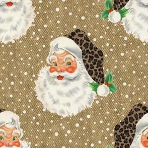 Retro Santa with Leopard hat on textured camel- medium scale