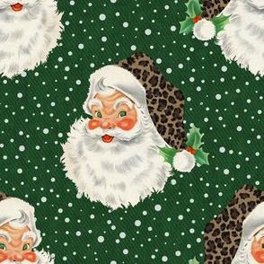 Retro Santa with Leopard hat on green - medium scale