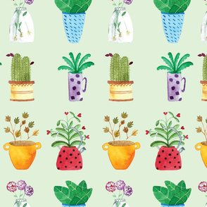 Watercolor potted plants collection house plants hand drawn light green background
