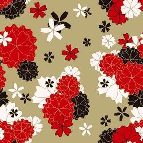 Chinese Golden Kimono Sakura Flowers