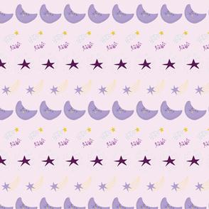 Cute Galaxy Stars Moon Pattern lilac background-07-01