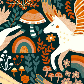 Whimsical Pegasus Forest - Orange - Large Version
