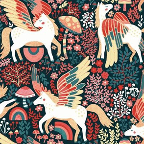 Whimsical Pegasus Forest - Coral - Small Version