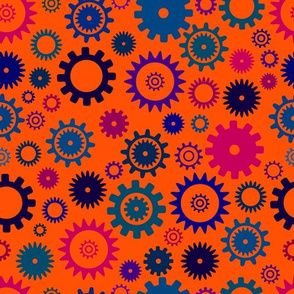 Many colorful cartoon cogwheels seamless pattern