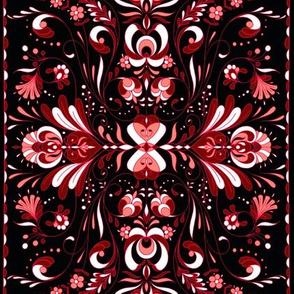 folk art tea towel hungarian black andpinks 2