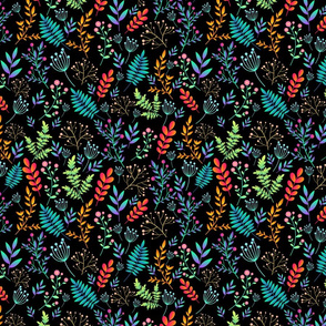 Artistic colorful field wild flowers seamless floral pattern.