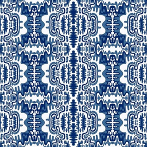 Tribal ethnic ornament seamless pattern in blue shades