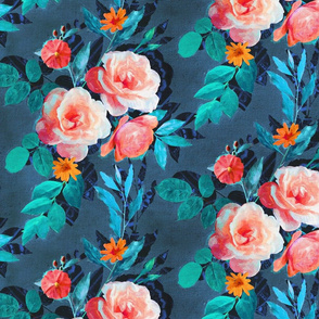 Retro Rose Chintz in Radiant Coral on Blue