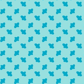 Vector cross embroidery blue stitches aligned on blue background, seamless pattern