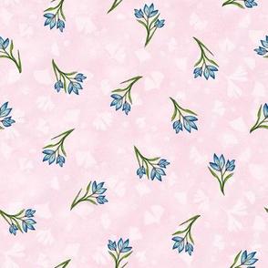 Blue Crocus Buds Med over Pale Pink Ginkgos