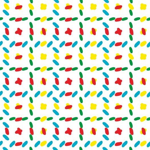 Vector colorful horizontal and vertical stitches aligned on white background seamless pattern