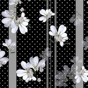 Coriander Flowers | Black/Gray Stripes + Polka Dots