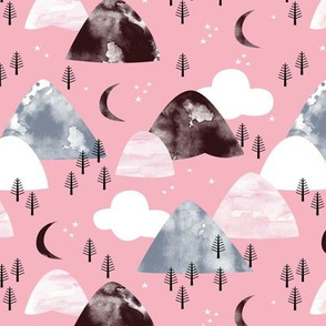Watercolors mountain Range and winter trees moon clouds and stars pink gray maroon