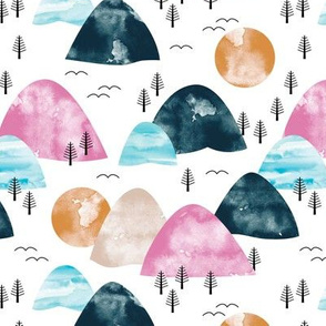Watercolors mountain Range and winter trees minimal sun sky and birds pink blue navy white