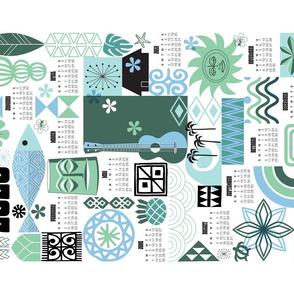 2020 na paila Tea Towel Calendar* || Hawaii Hawaiian sun beach tropical palm trees atomic midcentury modern leaves flowers ukulele fish honu sea turtle rainbow tiki tribal waves ocean cut and sew kitchen bar