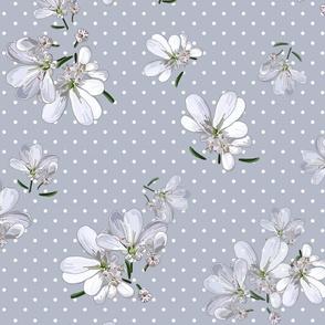 Coriander Flowers | Cool Gray + Wt Dots