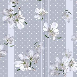 Coriander Flowers | Cool Grey + Wt Dots + Gray Stripes