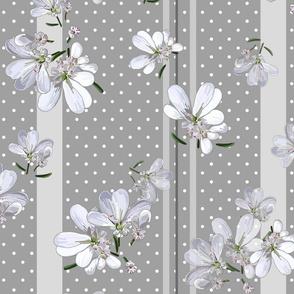 Coriander Flowers | Med Warm Gray + Wt Dots + Stripes