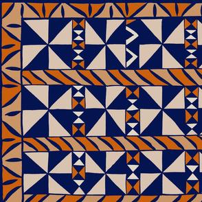 Tribal Quilt - Orange Navy Ivory