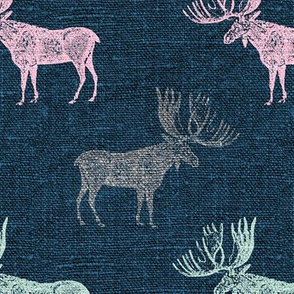Moose in Mint, Pink and Grey on a textured blue background