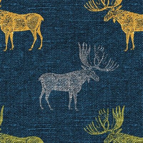 Moose in Grey, Lime and Mustard on a textured blue background