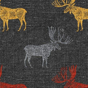 Moose in Grey, Red and Mustard on a textured grey background