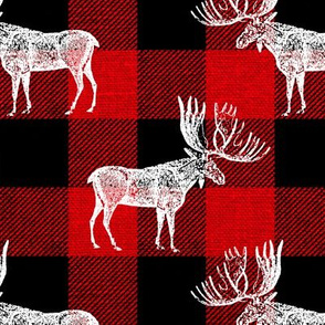 Moose in White on a Red Buffalo Plaid textured Background