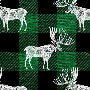 Moose in White on a Green Buffalo Plaid textured Background