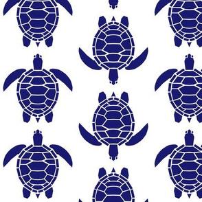 Three Inch Midnight Blue Turtles on White