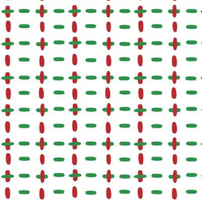 Christmas vector red and green horizontal and vertical stitches aligned on white background seamless pattern