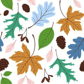 Fall Leaves Blue & Green by Heather Anderson