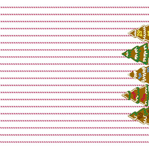 Gingerbread and peppermint stick tea towel - trees