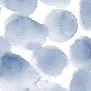 Soft indigo watercolor spots • large scale • painted brush stroke stains