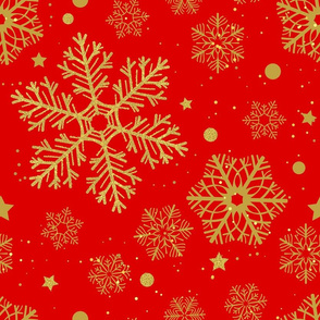 Golden snowflakes on red