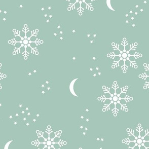 Magic snowflake winter sky stars and moon night boho christmas theme mint white