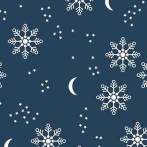 Magic snowflake winter sky stars and moon night boho christmas theme navy blue white