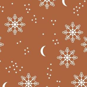 Magic snowflake winter sky stars and moon night boho christmas theme gender neutral rust brown