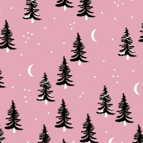 Christmas forest pine trees and snowflakes winter night new magic moon boho pink black