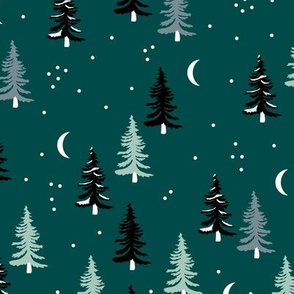 Christmas forest pine trees and snowflakes winter night new magic moon boho green mint black
