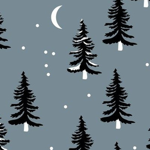 Christmas forest pine trees and snowflakes winter night new magic moon boho cool gray JUMBO
