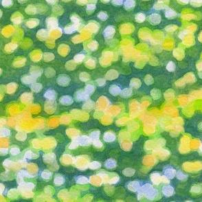 Green sunny day bokeh watercolor (smaller scale, horizontal)
