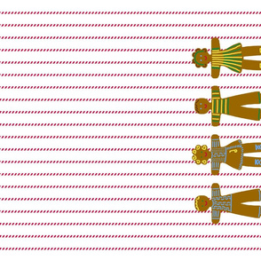 Gingerbread and peppermint stick tea towel children 3