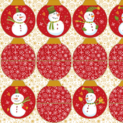 Snowmen Ornament Pouches-Red