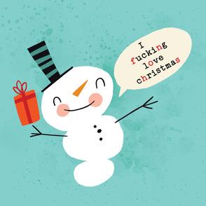 54x72 2 Yard Minky Blanket Snowmen Fucking Love Christmas!