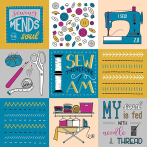 """Sewing Quotes Cheater Quilt 6"""" Blue and Yellow"""