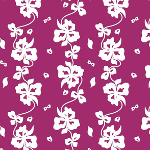 Haute Couture Hawaiian Garlands - white on maroon grape