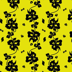 Haute Couture Hawaiian Garlands - black on chartreuse