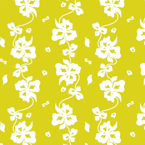 Haute Couture Hawaiian Garlands - white on chartreuse