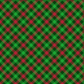 Christmas Holly Green and Red Tartan Check with Wide Crossed Green Lines